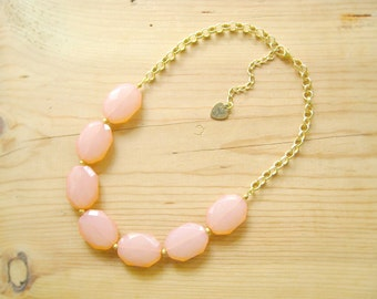 Peach Coral single strand statement necklace, Coral statement necklace