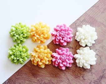 8 Pcs, Resin Flower Cabochons, All 24mm, Mix and Match Set, White, Orange, Pink, Green