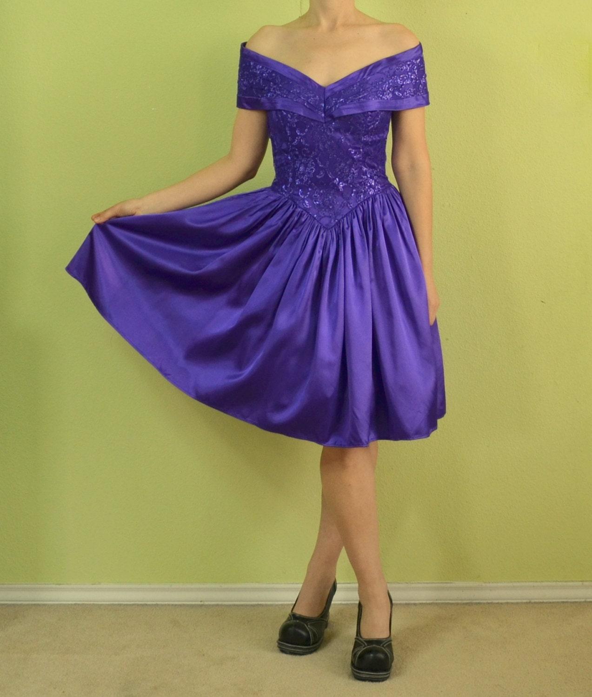 Vintage 80s 90s prom dress Gunne Sax Jessica McClintock Purple