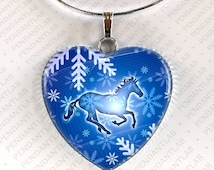 Winter Horse Heart Pendant, Horse Jewelry, Horse Necklace, Birthday, Horse Lady Gift, Gifts for Girl, Horse Lover, Zebra Necklace