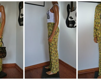 Vtg 60s Hippie Outfit/ Pants & Blazer Top Blouse/ Tulip Floral Yellow by Glamortop Ostel / S / M