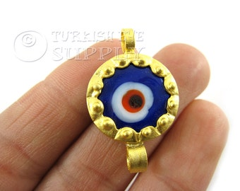 Blue Glass Evil Eye Connector, Matte 22K Gold Plated Brass Evil Eye Pendant, Bracelet Connector, Turkish Jewelry