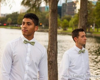 SALE - Recycled Olive Green and White Tear Drop Skinny Bow Tie with Adjustable Strap