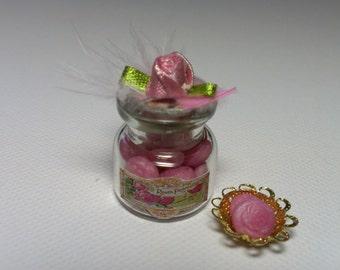 Elegant Rose Soap in a jar Dollhouse Miniature ooak one inch scale fimo general store 1:12