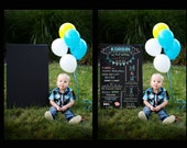 """INSTANT DOWNLOAD, 20""""X30"""" PSD Chalkboard overlay,  First Birthday Instant download, changeable wording, colors and font"""