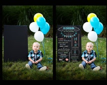 "INSTANT DOWNLOAD, 20""X30"" PSD Chalkboard overlay,  First Birthday Instant download, changeable wording, colors and font"