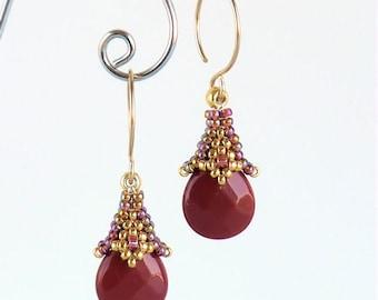 Instant download - Rania - Dangle Earrings - Beading Pattern - Herringbone - Peyote - Backstitch
