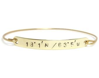 Hand Stamped LATITUDE & LONGITUDE Bangle Bracelet in Gold, Rose Gold or Sterling Silver, GPS Coordinate Bracelet, Personalized Bar Bracelet