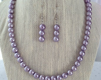 Purple Pearl Necklace, Lilac Bridesmaid Jewelry, Purple Beaded Jewelry, Light Purple Beaded Necklace, Purple Pearl Earrings, Jewelry Gift