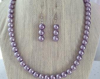 Purple Pearl Necklace, Bridesmaid Jewelry, Lavender Necklace, Purple Wedding, Purple Earrings, Glass Pearl Necklace, Lavender Wedding
