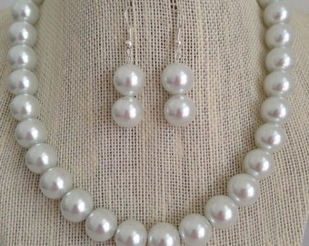 Chunky White Pearl Necklace, White Necklace, Bridal Jewelry, White Wedding, Bridesmaid Jewelry, Wedding Jewelry