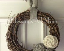 14 inch Grapevine Wreath, White and Gray Burlap Flowers, Spring Summer Fall/Autumn Wreath, Wedding, Bridal Shower Wreath, Gift