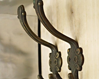 """6.10"""" Pair 2 pcs Vintage VICTORIAN Theressa Antique Solid Brass Hat Coat Strong Wall HOOK"""