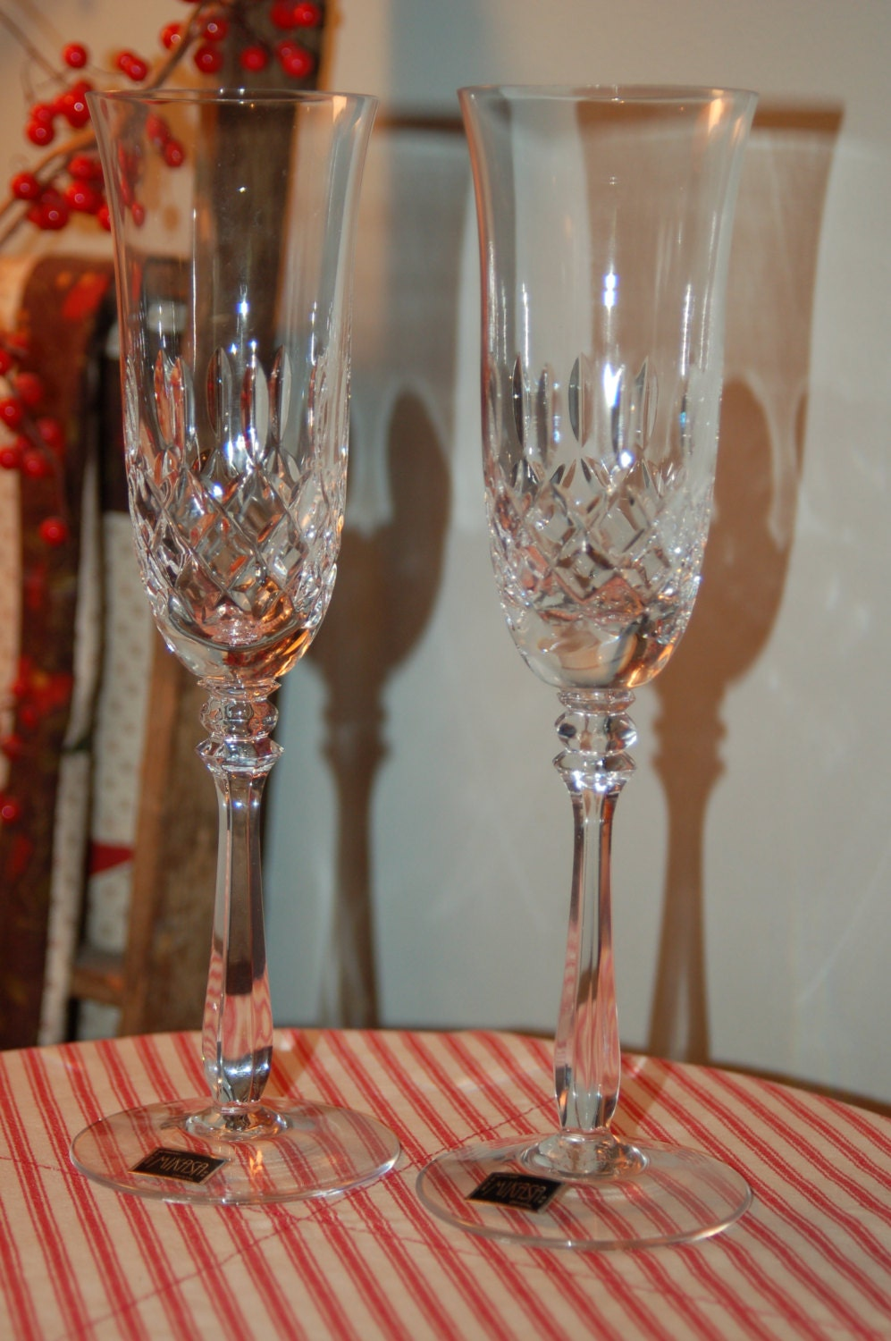 vintage mikasa crystal champagne flutes mikasa glasses. Black Bedroom Furniture Sets. Home Design Ideas