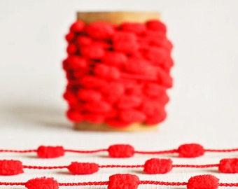 SALE Mini Pom Pom Garland in Red - 5 Yards - Christmas Valentines Holiday Novelty Twine Vintage Ribbon Trim Pompom Petite Pretty Party Decor