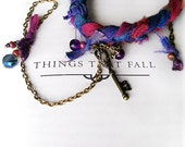 "OOAK Boho Slave Bracelet Charms, Silk Ribbons Key & Beads, ""Gypsy Secret"" Purple Pink Blue Weave Bracelet Ring, Boho Chic Charmed HandFlower"