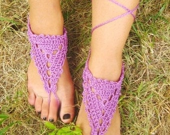 BLACK FRIDAY SALE! Ready to ship! Purple Barefoot Sandals GrecianCrochet Sandals, Anklet, Yoga, Foot Thongs, Nude Shoes, Lace Sandals