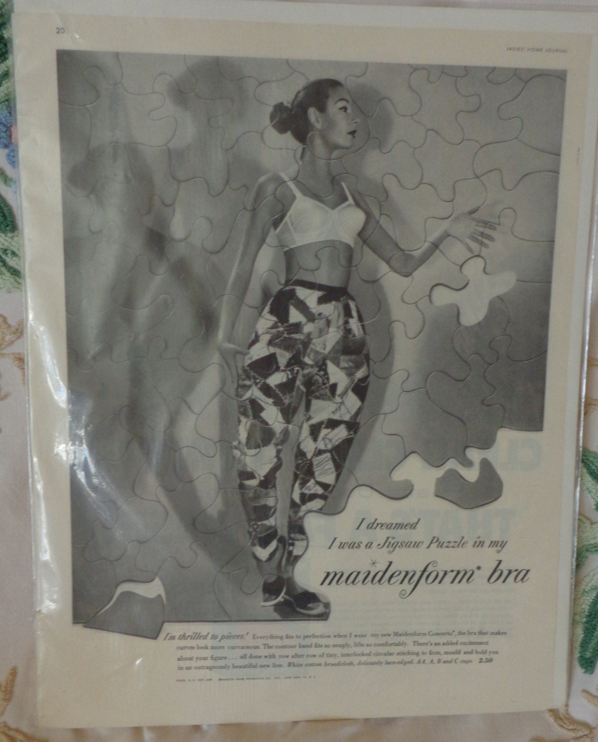 vintage maidenform bra ad crazy quilt pants by judeshandtiques