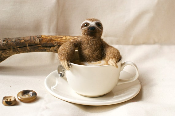 Sloth In a Cup - OOAK handmade needle felted sloth in teacup