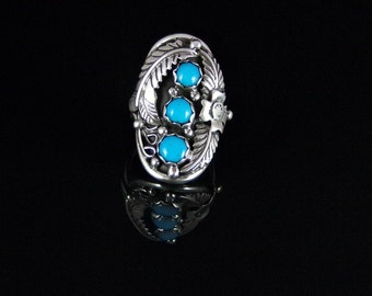 Natural Sleeping Beauty Turquoise Ring Sterling Silver Handmade Size 7.5, R0132