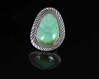 Natural Turquoise Ring Sterling Silver Handmade Size 9.0, R0135