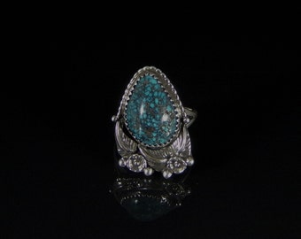Natural Chinese Spider Web Turquoise Ring Sterling Silver Handmade Size 7.5, R0176