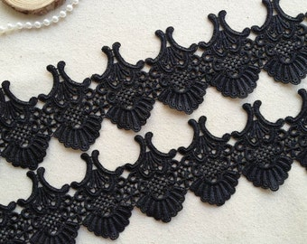 Gorgeous Black Venise Lace Trim Vintage Victorian Lace For Black Bridal, Millinery Design, Costume, Home Décor