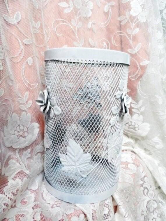 Vintage Creamy White Metal Trash Basket Trash Can Waste