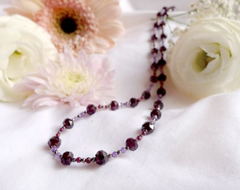 Faceted garnet and pyrite necklace with amethyst and 925 sterling silver *Free worldwide shipping*