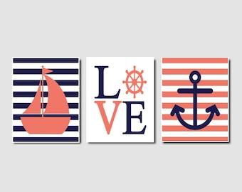 Nautical Nursery Decor Coral Navy Wall Art Sailboat Love Anchor Set of 3 Prints Or Canvas Girl Nursery Decor Kids Bathroom Playroom Decor