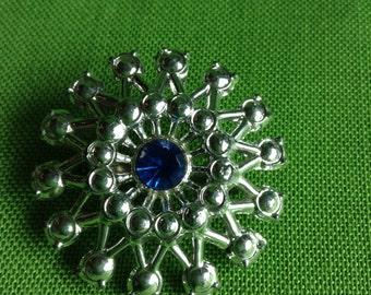 Vintage Silver-tone Brooch with a Blue Center Rhinestone (Item 267)