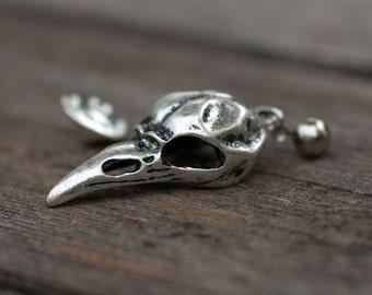Silver Bird Skull Pin