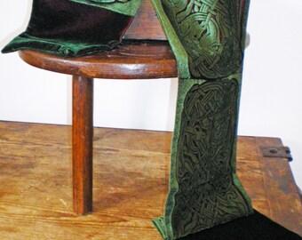 Hand printed embossed Velvet scarf celtic  design