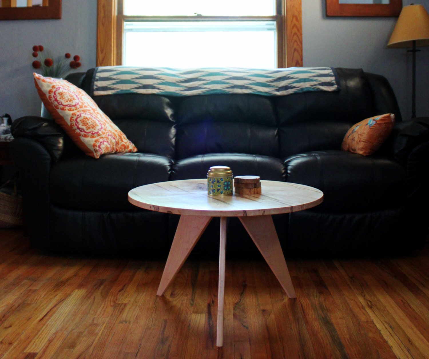 Etsy Wood Oval Coffee Table: Items Similar To Round Maple Worm Wood Coffee Table On Etsy
