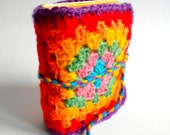 Knitted Journal, Granny squares,Handmade Diary, Travel Book, Old Paper, Pregnancy journals, Notebooks