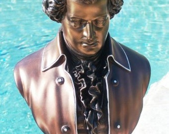 "18"" Bronzed Copper Mozart Bust Sculpture Statue Music New FREE SHIPPING USA"
