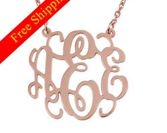 Monogram Necklace -1 inch Monogram Necklace plated Rose Gold -custom any name Monogram Necklace