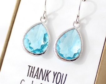 Aqua Blue / Silver Teardrop Bridesmaid Earrings - Aqua Drop Earrings - Bridesmaid Gift Jewelry - Aqua and Silver - Something Blue EB1