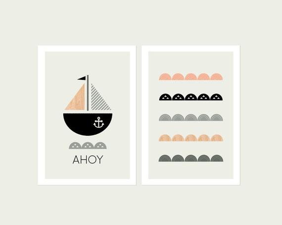 Sophisticated Modern Nautical Nursery: Modern Nautical Nursery Decor Modern Nursery Art Modern Kids