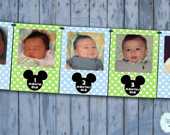 Baby Mickey Mickey Mouse First Year Photo Banner / 12 Month Banner / Mickey Mouse First Birthday Party / Blue Green FILE to PRINT DIY