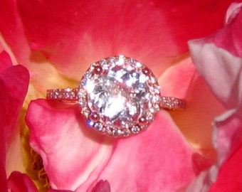 Peachy Pink Morganite in Rose Gold Diamond Halo Engagement Ring