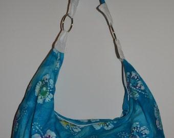Blue, White, Purple, Batik Boho Slouchy Hobo Bag Purse