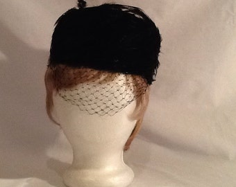 Unique Vintage Black Feather Hat 1950's