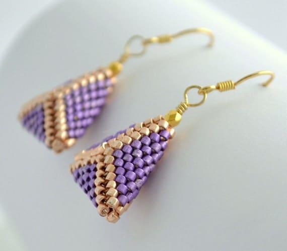 beaded triangle earrings geometric earrings gold dangle. Black Bedroom Furniture Sets. Home Design Ideas