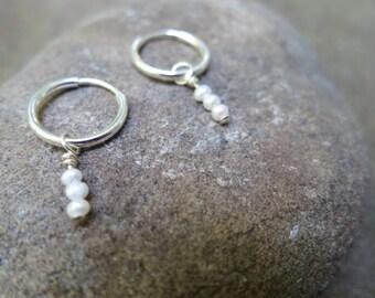 Tiny freshwater pearl earrings - Sterling Silver Hoop