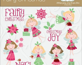 Christmas fairy images, cute, vector art, royalty free, commercial use. Instant download.