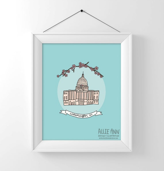 Washington D.C Capitol Building, art print, illustration, typography, United States Capitol Building