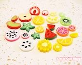 24pcs Mix Set Kawaii Fruit Slices Flatback Cabochon - DIY Miniature Sweets Decoden Cell Phone Case Deco Scrapbooking Decoden