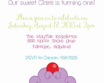 Cupcake 1st  Birthday Invitation