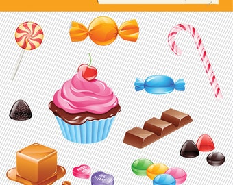 Candy Clipart. Food Illustration. Colorful Candy Clipart. Candy digital images. Lollipop, Candy stick...043